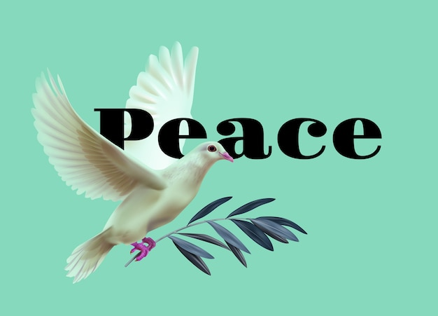 Illustration of white dove of peace bears olive twig on green background with space for text