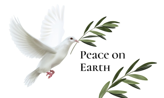 Illustration of white dove of peace flying with green olive twig isolated on white background with space for text