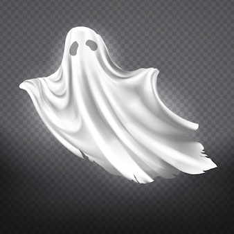 Illustration of white ghost, phantom silhouette isolated on transparent background.