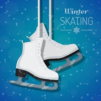 Illustration of white ice skates on winter background