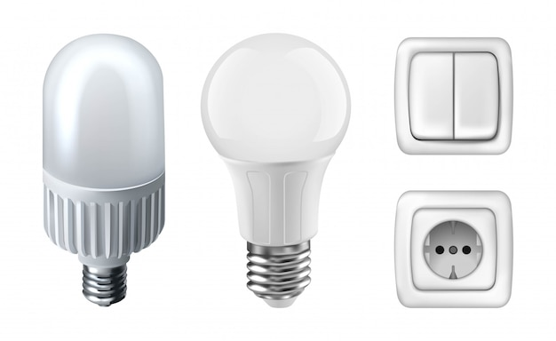 Illustration of white light bulbs, electricity plugs and light switchers. isolated on white
