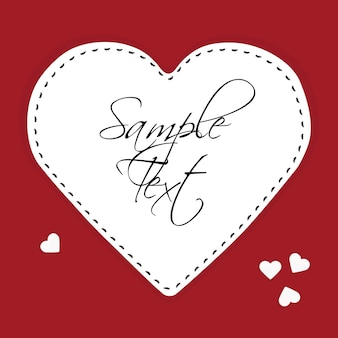 Illustration of white paper heart on a red background