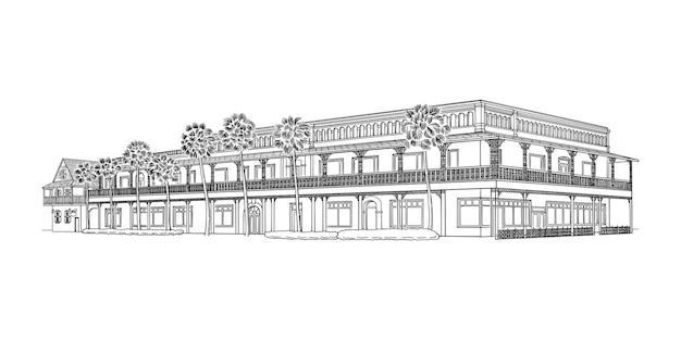 Illustration of white room hotel and restaurant