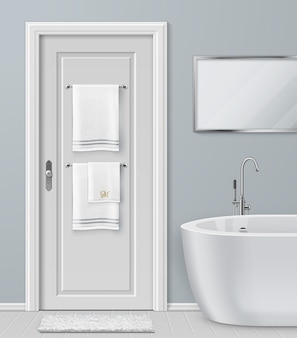 Illustration of white towels hanging on hanger on door in bathroom with modern bathtub and mirror