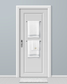 Illustration of white towels hanging on hanger on door in modern bathroom