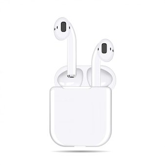 Illustration of white wireless headphones in a case on a white background
