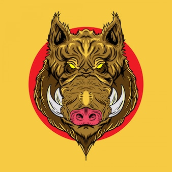Illustration of wild boar head in japanese design style
