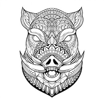 Illustration of wild boar zentangle
