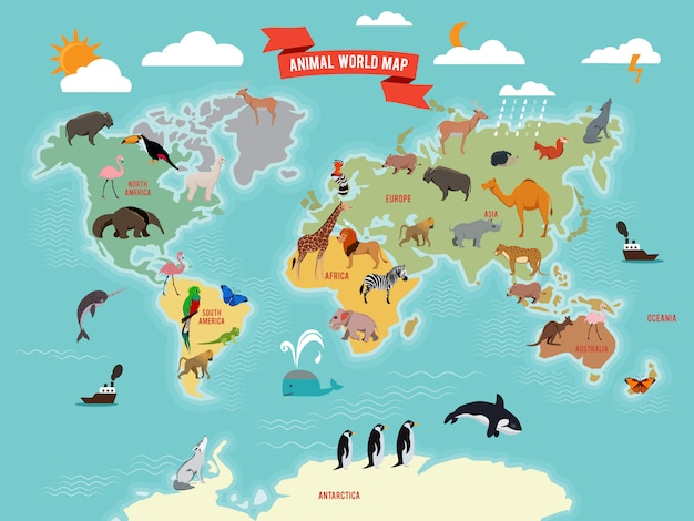 Illustration of wildlife animals on the world map