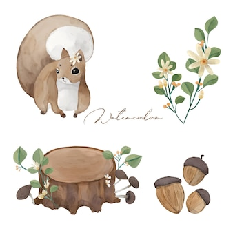 Illustration wilds animals and natural flowers