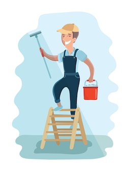 Illustration of window washer is cleaning window using a squeegee. housekeeping service