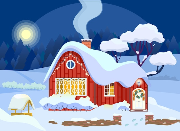 Illustration of winter countryhouse decorated