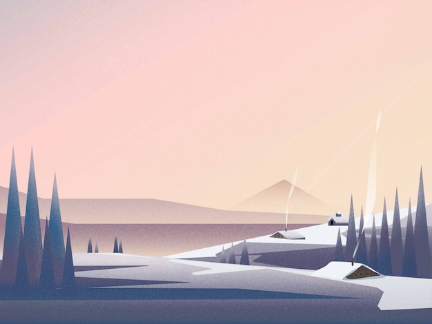 Illustration of winter landscape banner of cabin in at the mountain landscape in winter.