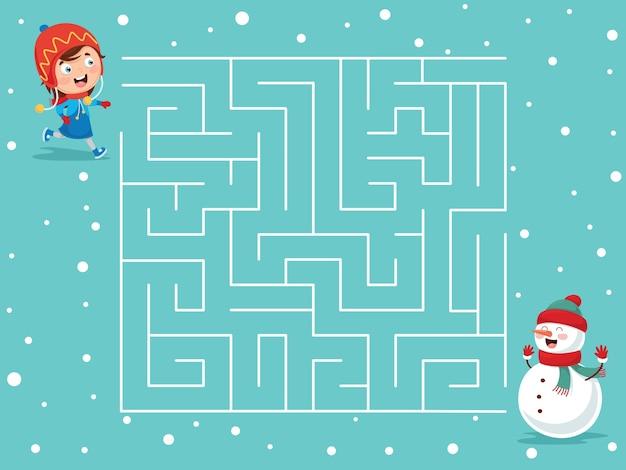 Illustration of winter maze