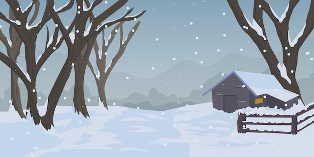 Иллюстрация зима на деревне с фоном дерева