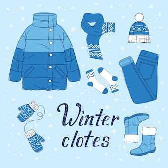 Illustration of winter wardrobe and hand drawn phrase for print, sticker, decor. flat style illustrations of warm clothes
