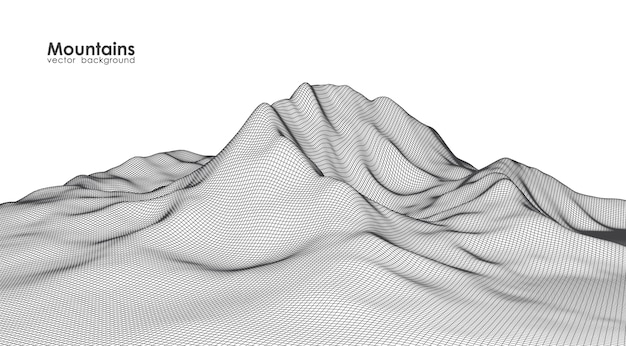Illustration: wireframe mountains landscape on white background.