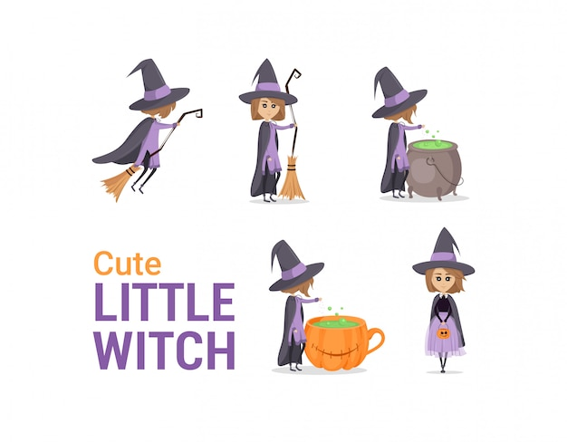 Illustration of witch flying, with broom, near cauldron. set of cute, little magician. character design