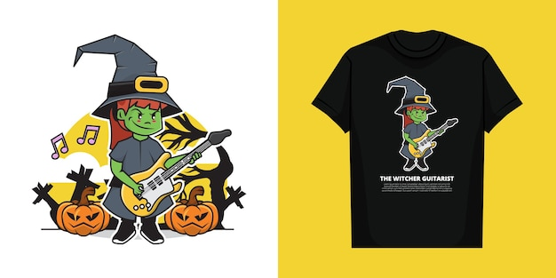 Illustration of the witcher playing guitar in the halloween day with t-shirt