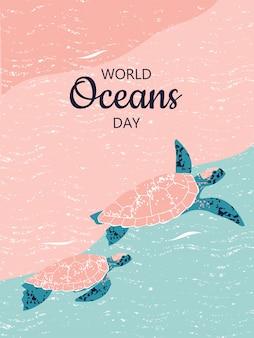 世界海洋デーのカメのカップルのイラスト