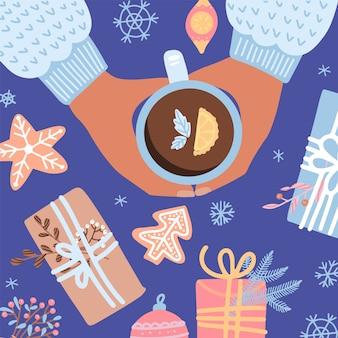 一杯のお茶、ビスケット、ギフトボックス、クリスマスの食べ物のイラスト。レトロなスタイル。フラットデザイン上面図。居心地の良いクリスマスムード。