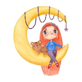 달과 곰에 앉아 소녀와 그림