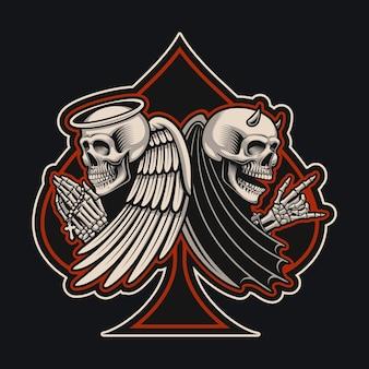 タトゥースタイルの天使と悪魔のスケルトンのイラスト。これはアパレルデザインに最適です