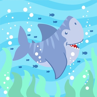 Illustration with baby shark