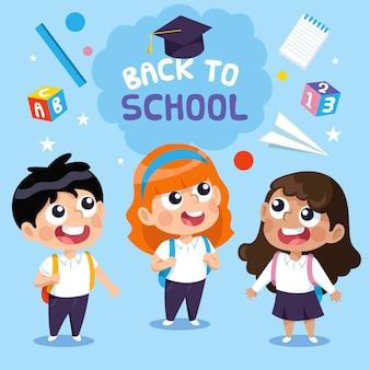Illustrazione con ritorno a scuola