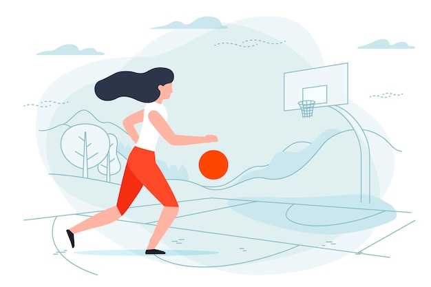 Illustration with basketball player