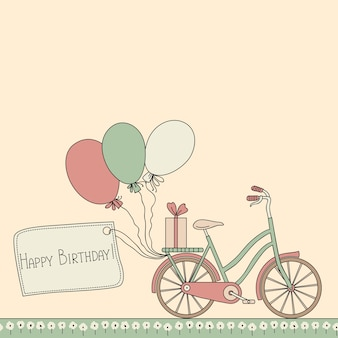 Illustration with bicycle, balloons and happy birthday card.