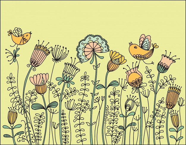 Illustration with birds flying around the flowers