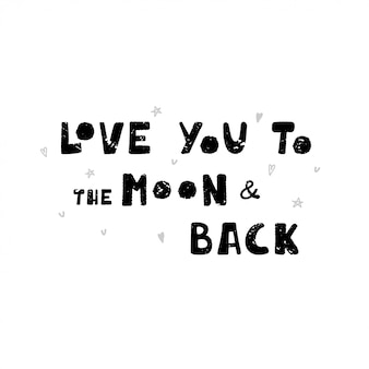 Illustration with black and white lettering in hand drawn style.