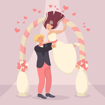 Illustration with bride and groom getting married