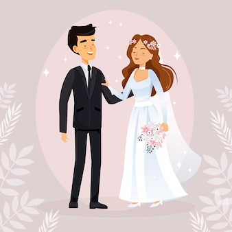 Illustration with bride and groom