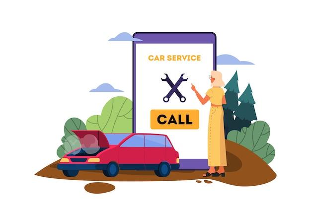 Иллюстрация с разбитой машиной на дороге. автомобиль случайно сломался на дороге. печальный и напуганный водитель звонит в автосервис за помощью.
