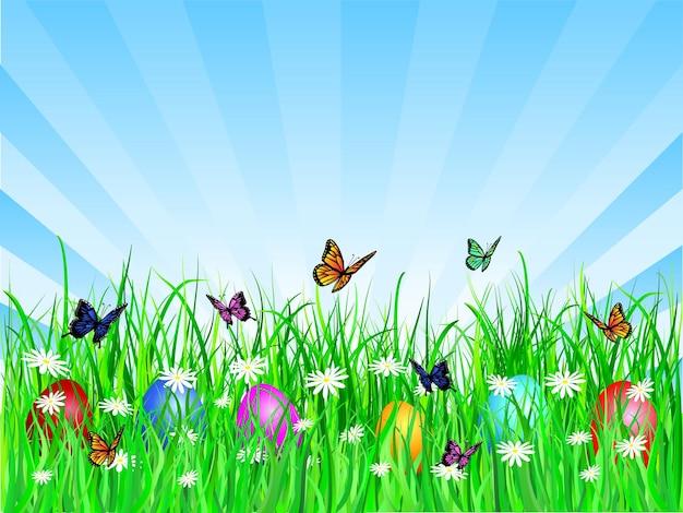 Иллюстрация с бабочками с пасхальными яйцами в траве