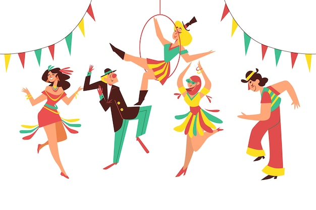 Illustration with carnival dancers collection