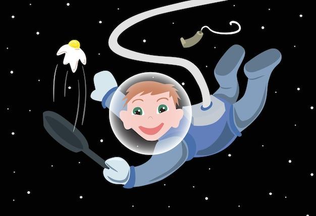 漫画の宇宙飛行士が卵を調理するイラスト