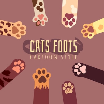 Illustration with cats foots in cartoon style