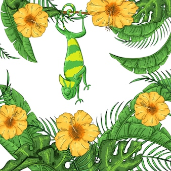 Illustration with chameleon, hibiscus and plants. exotic jungle
