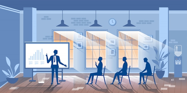 Illustration with characters business training class