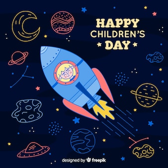 Illustration with childrens day message