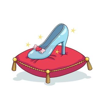 Иллюстрация с золушкой стеклянной обуви