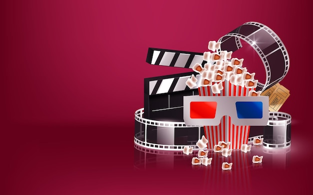 Illustration with cinema videocamera, popcorn clapboard and 3d glasses