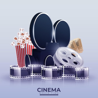 Illustration with cinema videocamera, popcorn and tickets