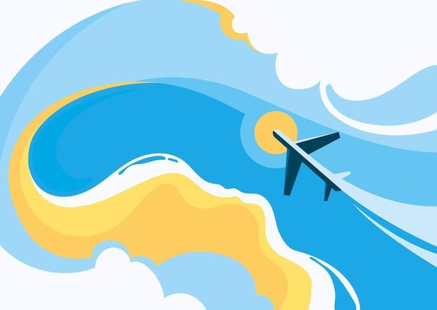해안과 비행기와 그림입니다. 평면 디자인의 여행 컨셉 아트.