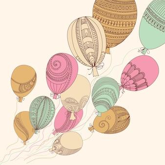 Иллюстрация с красочными летающими воздушными шарами