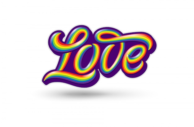 Illustration with colorful handwritten love typography on  white background. homosexuality emblem. symbol of lgbt pride and love. template with lettering for sticker, shirt print, logo .
