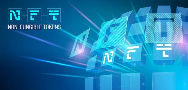 Иллюстрация с концепцией невзаимозаменяемого токена, типографика nft на синем фоне 3d кубов